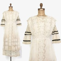Vintage LACE Tea DRESS / 1910s Ivory Embroidered Eyelet Cotton Edwardian Dress S