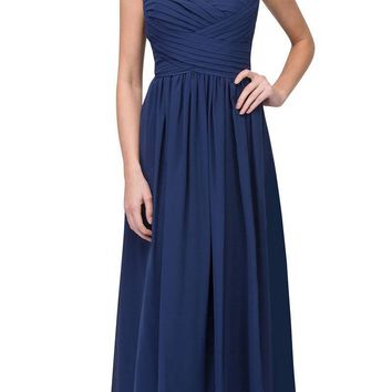 Starbox USA L6414 Navy Blue Strapless Pleated Bodice Long Bridesmaids Dress A-Line