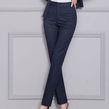 2017 Spring Autumn Plus Size Women Blue Striped Pants For Office Fashion Dress Long Trousers High Waist Slim Formal Pants XXXL