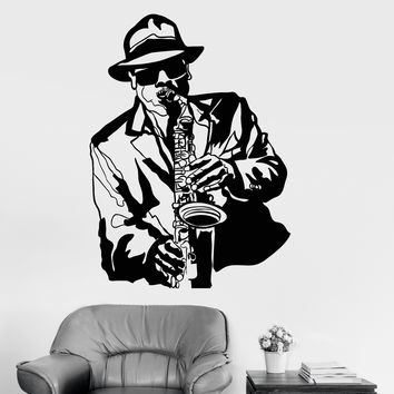 Vinyl Wall Decal Jazz Musician Music Black African Man Stickers Unique Gift (ig3053)