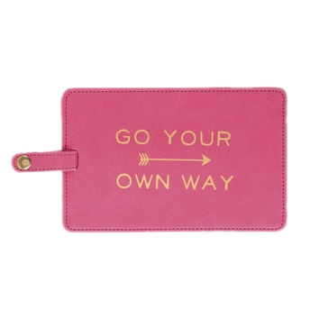 Go Your Own Way Jumbo Luggage Tag in Hot Pink and Metallic Gold