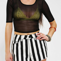 Sparkle & Fade Sheer Mesh Cropped Top