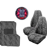 9pc Safari Grey Cheetah Print Car Floor Mats, High Back Seat Covers, Steering Wheel Cover & Shoulder Pad Set