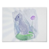 Pretty Cat Painting Poster
