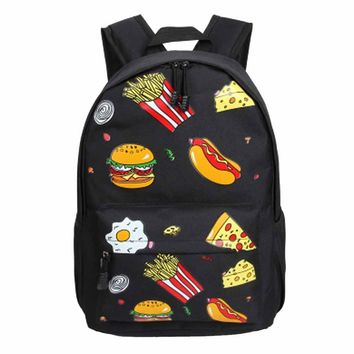 Printing Backpack Retro Harajuku Women Backpacks Big Children Girl Shoulder Burger Design Rucksack Mochila Feminina