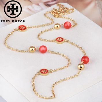 Tory Burch High quality new fashion pearl long necklace sweater chain women Red
