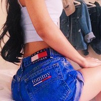 Tommy Shorts Tommy Hilfiger Jeans Women High Waist CowBoy Shorts B-KWKWM Dark blue