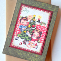 Retro Inspired Christmas Card, Handmade Greeting Card, Old Fashioned Note Card, One of a Kind Holiday Card, Blank Christmas Note Card