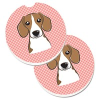 Checkerboard Pink Beagle Set of 2 Cup Holder Car Coasters BB1239CARC