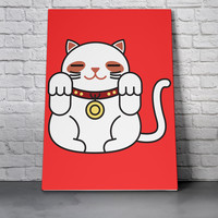 Canvas Wall Art Print - Lucky Cat in Red by Miguel Avila