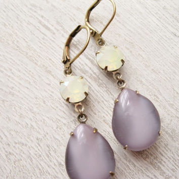 Spring Earrings, Purple and Yellow drop earrings, Easter Jewellery, Spring Wedding, Bridesmaid Earrings, Vintage Rhinestones, Moonstone Opal