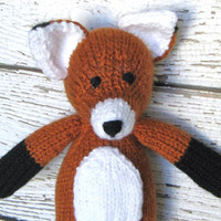 Hand Knit Fox Stuffed Animal - Ready To Ship - Woodland Animal Christmas Gift - Stuffed Fox - Knit Animal - Soft Baby Toy Red Fox 13 1/2""