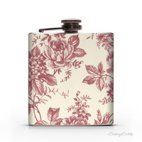 Wine Flowers and Cream - 6oz Hip Flask