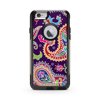 Multicolored Purple Paisley Background Skin for the Apple iPhone Otterbox Commuter Case