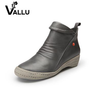 VALLU 2017 New Autumn Winter Genuine Leather Shoes Women Boots Low Heel Cowhide Ankle Boots