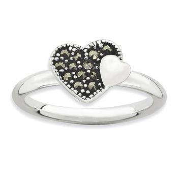 Sterling Silver Stackable Expressions Marcasite Heart Ring
