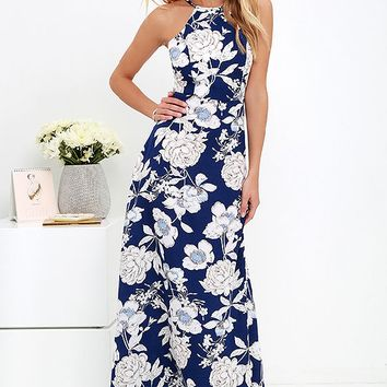 Floral Print Halter Neck Prom Maxi Dress