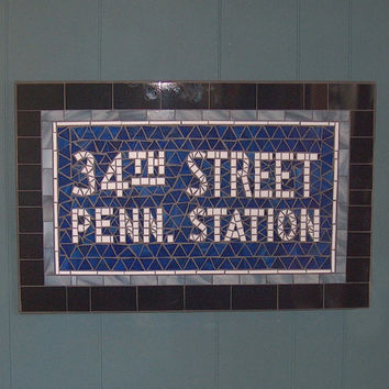 NYC Subway Mosaic Glass Sign Replica - New York City - 34th Street Penn. Station