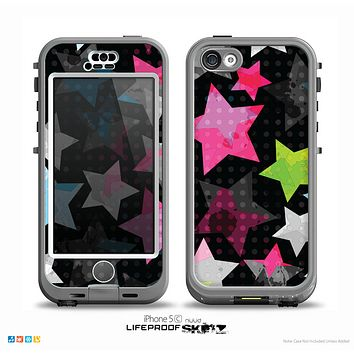 The Neon Highlighted Polka Stars On Black Skin for the iPhone 5c nüüd LifeProof Case