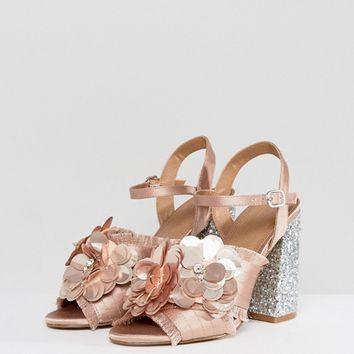 ASOS HEATHER Floral Embellished Heeled Sandals at asos.com