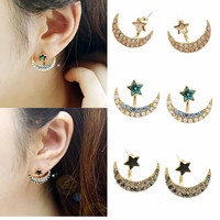 Star with Moon Ear Jacket, Blue and Black Ear Cuff Stud Earrings