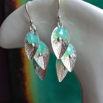 Silver Leaf Dangle Earrings with Sea Foam Green Beads, Homemade, Bridesmaid jewelry