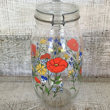 Canister Vintage Glass Canister Mid Century  Canning Jar by Arc International Floral Glass Kitchen Canister Kitchen Storage Craft Storage