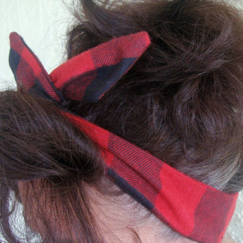 Flannel Dolly Bow Wire Headband Lumberjack Flannel Winter Red White Flannel Rockabilly Pin Up Hair Accessory for Teens Women Girls