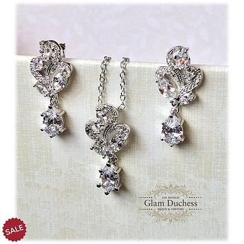 Cubic Zircon Crystal Necklace and Earrings Bridal Jewelry Set