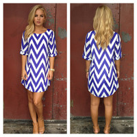 Royal Blue Chevron Print Shift Dress