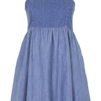 MOTO Denim Babydoll Dress - Bleach