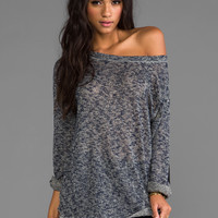 Tylie Split Long Sleeve Sweater w/ Leather Patches in Mottled Blue from REVOLVEclothing.com