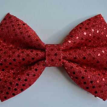 Red Sequin hair bow, Big hair bow, Hair clips, Hair bows for women kids and teens
