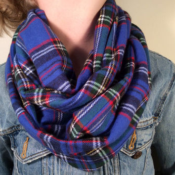 Handmade Infinity Scarf Plaid Flannel - Super Warm Double  Layer Circle Scarf -  Royal Blue, Red, Yellow, Christmas Present, Holiday Gift