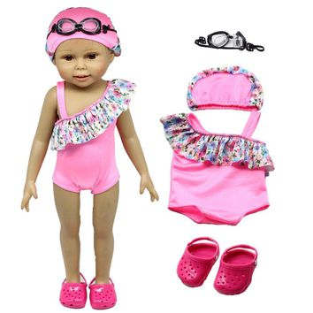 PINK Doll Clothes - Swimsuit Set : Bikini,Shoes,Goggles & Cap Fits For 43cm Amarican Girl Dolls, Madame Alexander and other 18 inches Dolls
