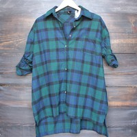 oversize flannel shirt tunic in green