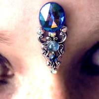 Nimue Bindi, goddess, fairy, mermaid, fantasy, facial jewel, bollywood, bellydance, tribal fusion, gyspy, blue, glass, wicca, pagan, chakra