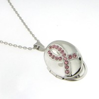 Pink Crystal Studded Breast Cancer Awareness Locket