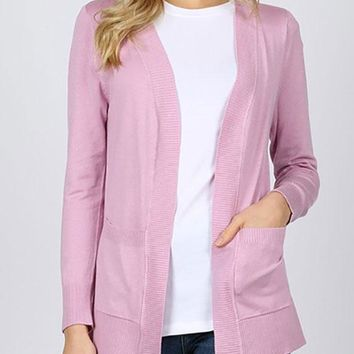 Ribbed trim pocket cardigan - Mauve