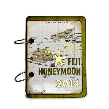 Personalized Honeymoon Travel Journal, Fiji Map Journal, Custom Travel Diary, Vintage Style Photo Book, Anniversary Gift, Gift For Him