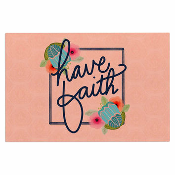 "Noonday Design ""Have Faith"" Coral Teal Typography Decorative Door Mat"