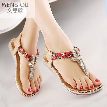 Summer Women Bohemia Gladiator Sandals Women Shoes Flat Shoes Sandalias Mujer Ladies Shoes New Flip Flops 2017 BT538