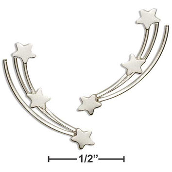 STERLING SILVER SHOOTING STARS EAR CLIMBER PIN EARRINGS
