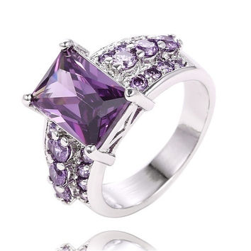1PC 925 Sterling Silver Purple Cubic Zirconia Gorgeous Finger Ring US SIZE = 1933165380