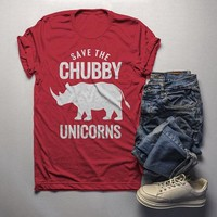 Men's Funny Chubby Unicorn T Shirt Rhinoceros Shirt Wildlife Conservation Rhino Graphic Tee