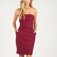 Strapless Bow Tie Dress - Wine