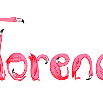 Customized Pink Flamingos children or baby names for nursery decor, nursery wall art, hand draw, hand lettering