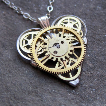 "Mini Watch Parts Heart Necklace ""Voilà"" Elegant Industrial Heart Pendant Steampunk Sculpture Gershenson-Gates Mechanical Mind Christmas"