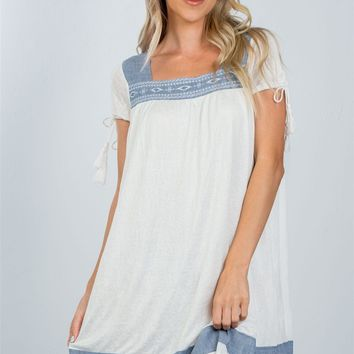 LL Contrast Embroidered Boho Mini Dress w/ Tie-Sleeves