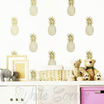 Pineapple Wall Decals - Pineapple Decals, Pineapple Decor, Pineapple Gift, Gift for Her, Wall Decor, Wall Stickers, Pineapple Wall Art ga7